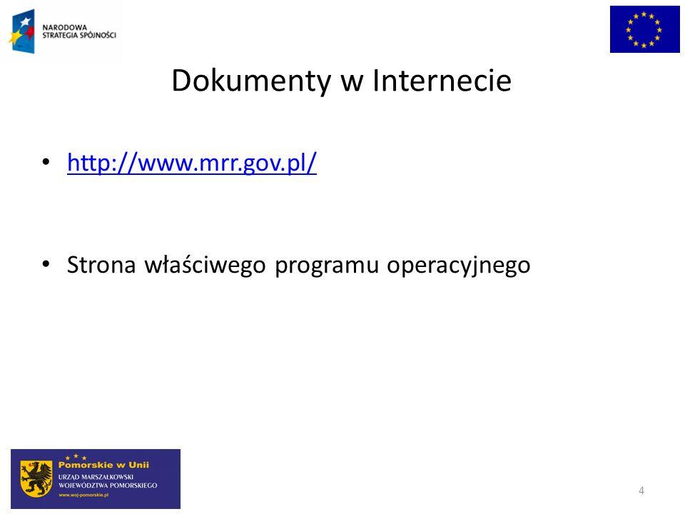 Dokumenty w Internecie http://www.mrr.gov.pl/ Strona właściwego programu operacyjnego 4