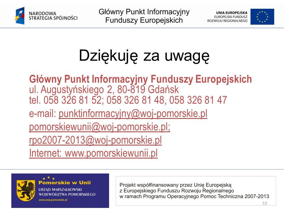 Dziękuję za uwagę Główny Punkt Informacyjny Funduszy Europejskich ul. Augustyńskiego 2, 80-819 Gdańsk tel. 058 326 81 52; 058 326 81 48, 058 326 81 47