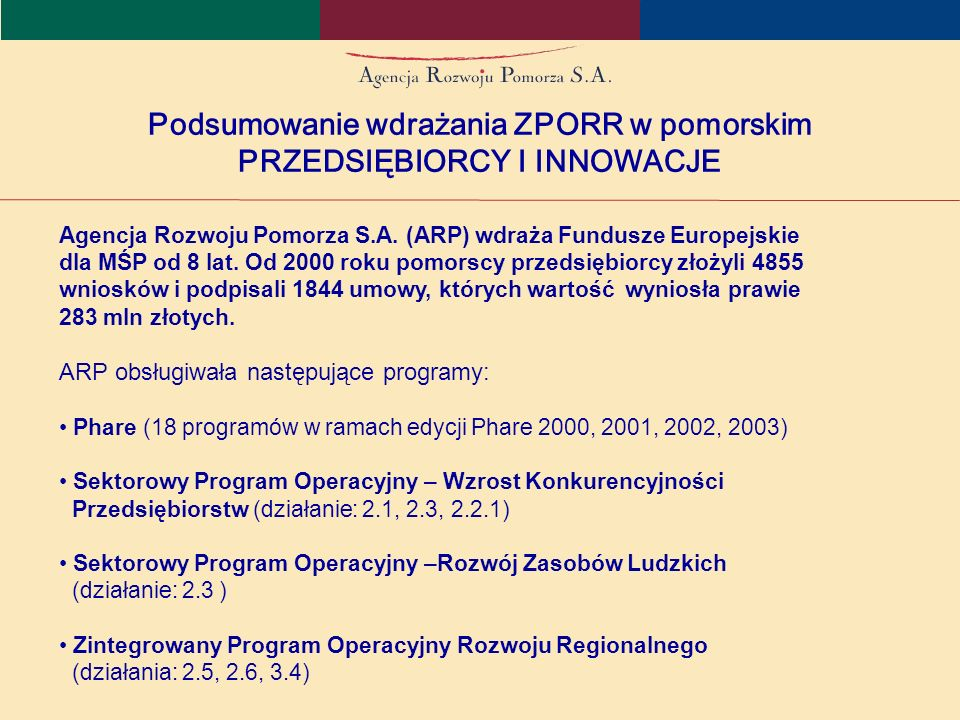 W latach 2004-2006 w ramach ZPORR ARP wdrażała: Działanie 2.5 – Promocja Przedsiębiorczości – budżet 3,5 mln EUR Działanie 2.6 – Regionalne Strategie Innowacyjne i transfer wiedzy – budżet 3,5 mln EUR Działanie 3.4 – Mikroprzedsiębiorstwa – budżet 4,3 mln EUR Podsumowanie wdrażania ZPORR w pomorskim PRZEDSIĘBIORCY I INNOWACJE