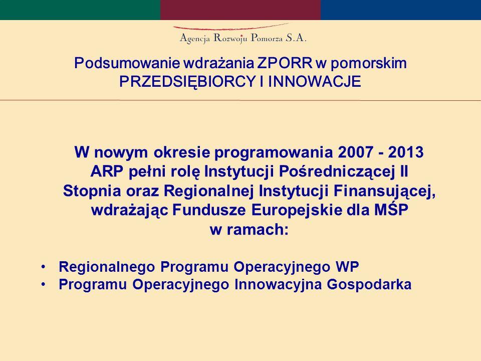 Podsumowanie wdrażania ZPORR w pomorskim PRZEDSIĘBIORCY I INNOWACJE W nowym okresie programowania 2007 - 2013 ARP pełni rolę Instytucji Pośredniczącej II Stopnia oraz Regionalnej Instytucji Finansującej, wdrażając Fundusze Europejskie dla MŚP w ramach: Regionalnego Programu Operacyjnego WP Programu Operacyjnego Innowacyjna Gospodarka