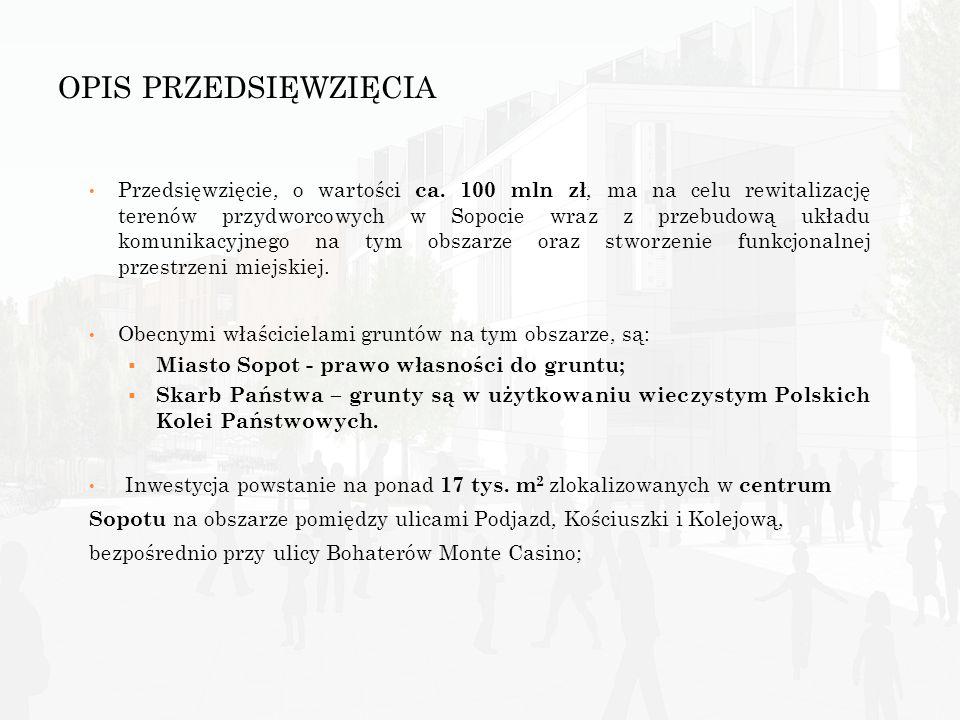 OPIS PRZEDSIĘWZIĘCIA Przedsięwzięcie, o wartości ca. 100 mln zł, ma na celu rewitalizację terenów przydworcowych w Sopocie wraz z przebudową układu ko