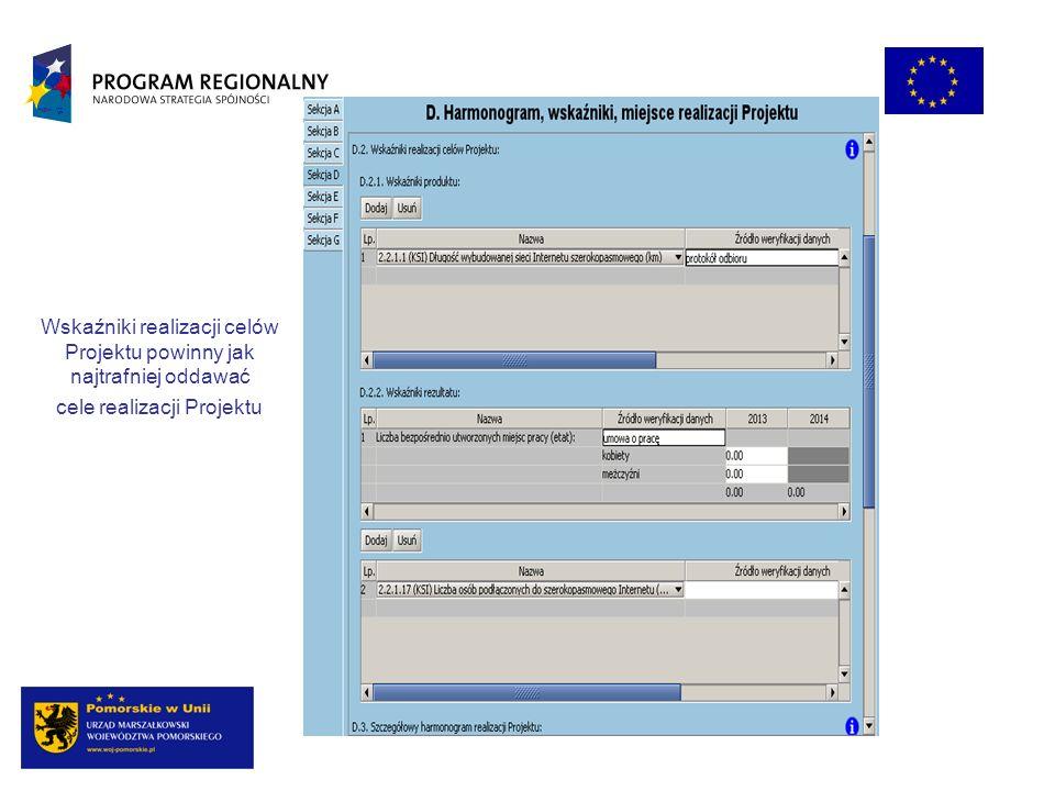 Wskaźniki realizacji celów Projektu powinny jak najtrafniej oddawać cele realizacji Projektu