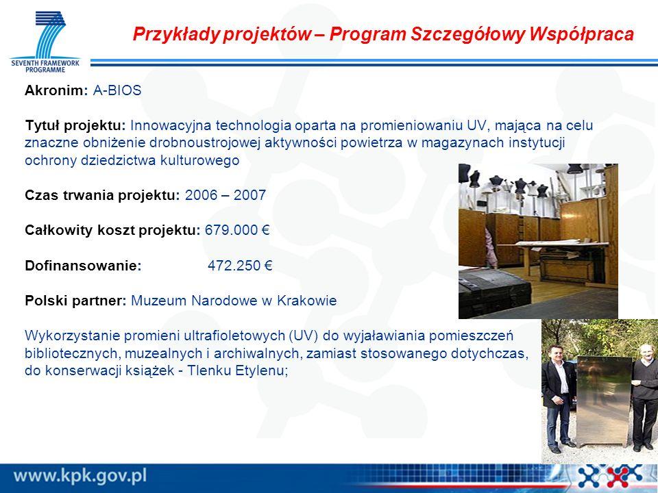Przykłady projektów – Program Szczegółowy Współpraca Akronim: A-BIOS Tytuł projektu: Innowacyjna technologia oparta na promieniowaniu UV, mająca na ce