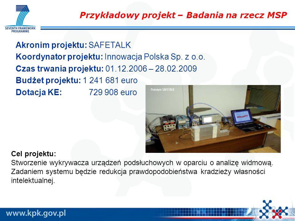 Przykładowy projekt – Badania na rzecz MSP Akronim projektu: SAFETALK Koordynator projektu: Innowacja Polska Sp. z o.o. Czas trwania projektu: 01.12.2