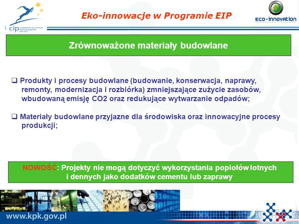 Eko-innowacje w Programie EIP Zrównoważone materiały budowlane Produkty i procesy budowlane (budowanie, konserwacja, naprawy, remonty, modernizacja i