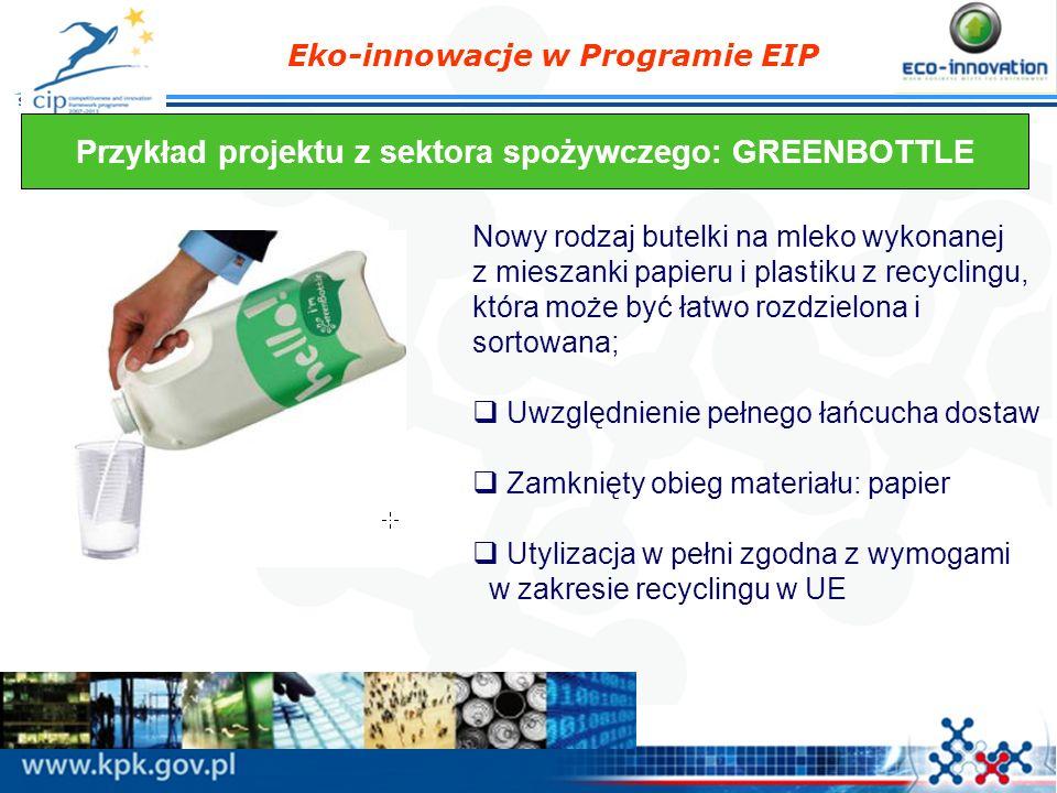 Eko-innowacje w Programie EIP Przykład projektu z sektora spożywczego: GREENBOTTLE Nowy rodzaj butelki na mleko wykonanej z mieszanki papieru i plasti