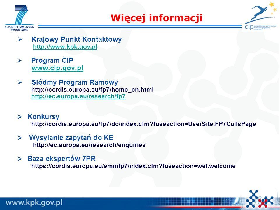 Krajowy Punkt Kontaktowy http://www.kpk.gov.pl Program CIP www.cip.gov.pl Siódmy Program Ramowy http://cordis.europa.eu/fp7/home_en.html http://ec.eur