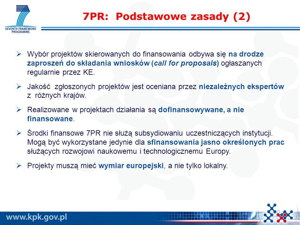 7PR: Podstawowe zasady (2) Wybór projektów skierowanych do finansowania odbywa się na drodze zaproszeń do składania wniosków (call for proposals) ogła