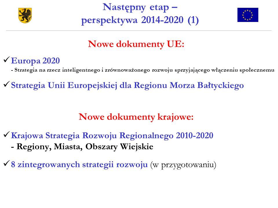 Następny etap – perspektywa 2014-2020 (1) Nowe dokumenty UE: Europa 2020 - Strategia na rzecz inteligentnego i zrównoważonego rozwoju sprzyjającego wł