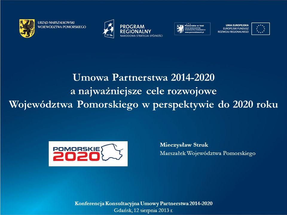Umowa Partnerstwa 2014-2020 a najważniejsze cele rozwojowe Województwa Pomorskiego w perspektywie do 2020 roku Konferencja Konsultacyjna Umowy Partner