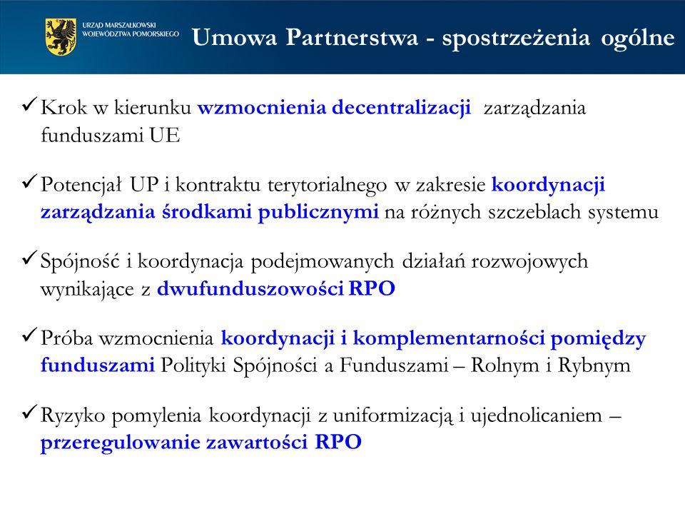 Umowa Partnerstwa – zagadnienia do dyskusji (1) 1.Ujednolicanie podejścia – zamknięcie drogi dla różnych potrzeb, usztywnienie systemu 2.Poziom i źródła udział środków budżetu państwa dla zapewnienia wkładu krajowego w części RPO finansowanej z EFS 3.Ujednolicenie podziału alokacji w regionach na cele tematyczne 4.Większe od wymaganych poziomy koncentracji środków na wybranych obszarach tematycznych 5.Przesądzenia o tematycznych obszarach zastosowania zwrotnych form wsparcia
