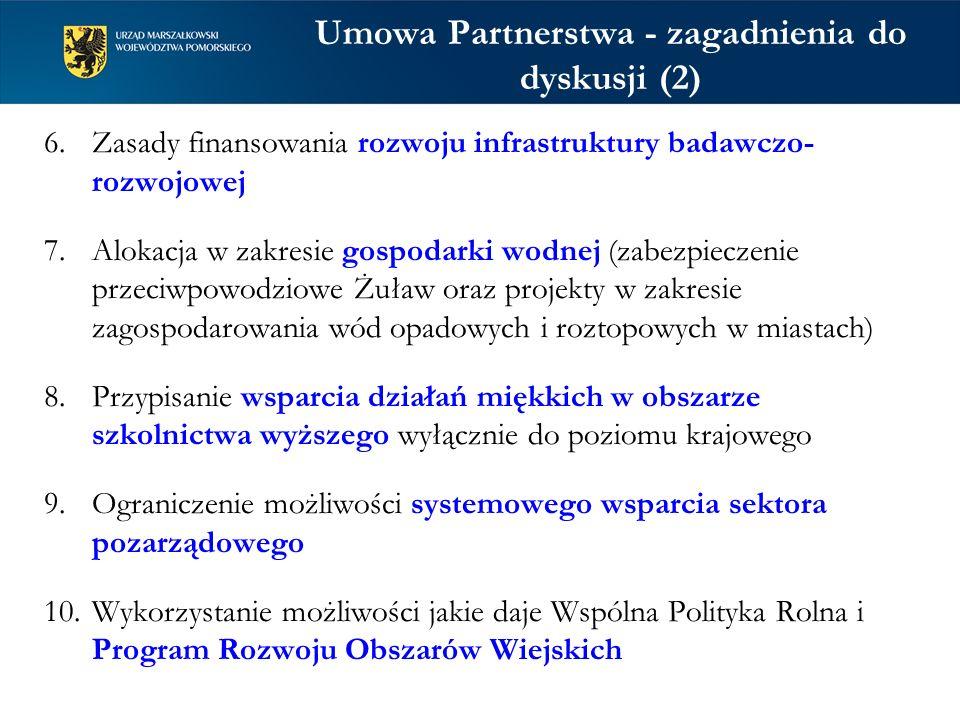 Umowa Partnerstwa - zagadnienia do dyskusji (2) 6.Zasady finansowania rozwoju infrastruktury badawczo- rozwojowej 7.Alokacja w zakresie gospodarki wod