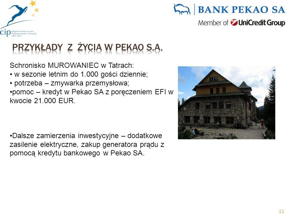 Schronisko MUROWANIEC w Tatrach: w sezonie letnim do 1.000 gości dziennie; potrzeba – zmywarka przemysłowa; pomoc – kredyt w Pekao SA z poręczeniem EFI w kwocie 21.000 EUR.