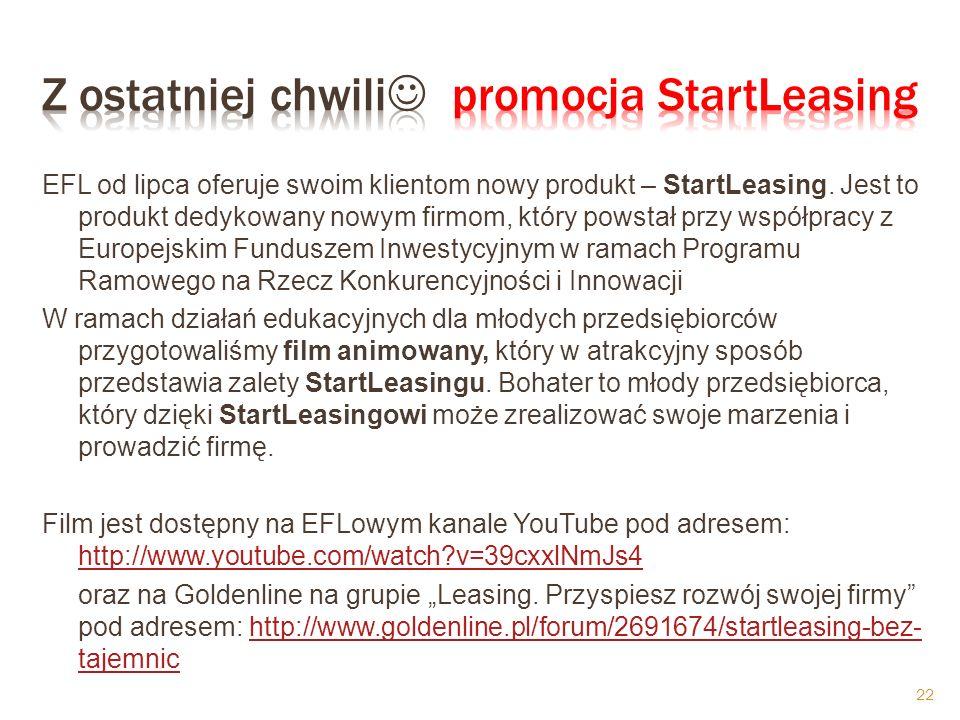 EFL od lipca oferuje swoim klientom nowy produkt – StartLeasing.