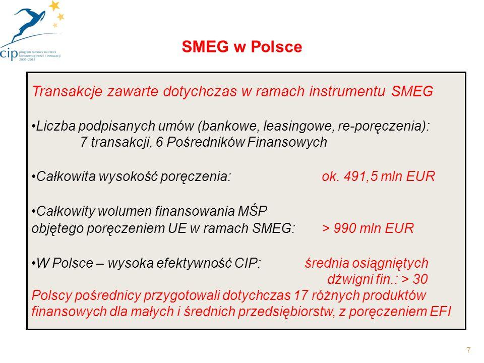 7 SMEG w Polsce Transakcje zawarte dotychczas w ramach instrumentu SMEG Liczba podpisanych umów (bankowe, leasingowe, re-poręczenia): 7 transakcji, 6 Pośredników Finansowych Całkowita wysokość poręczenia:ok.