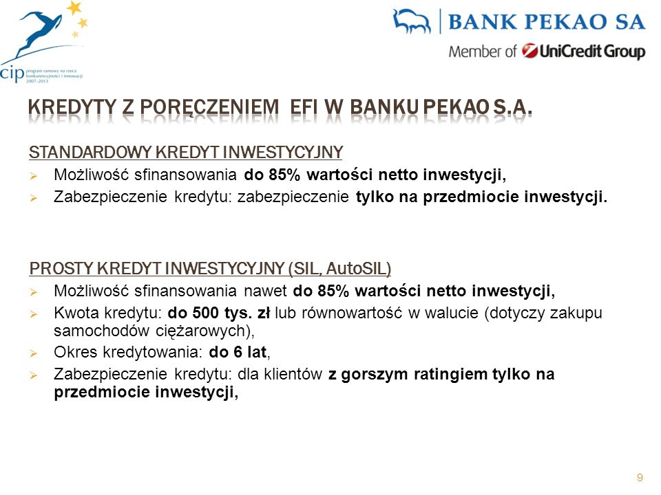 STANDARDOWY KREDYT INWESTYCYJNY Możliwość sfinansowania do 85% wartości netto inwestycji, Zabezpieczenie kredytu: zabezpieczenie tylko na przedmiocie inwestycji.