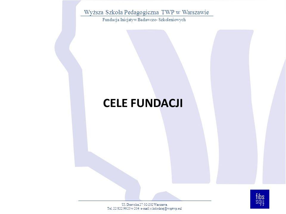 CELE FUNDACJI Ul. Drawska 27 02-202 Warszawa Tel.