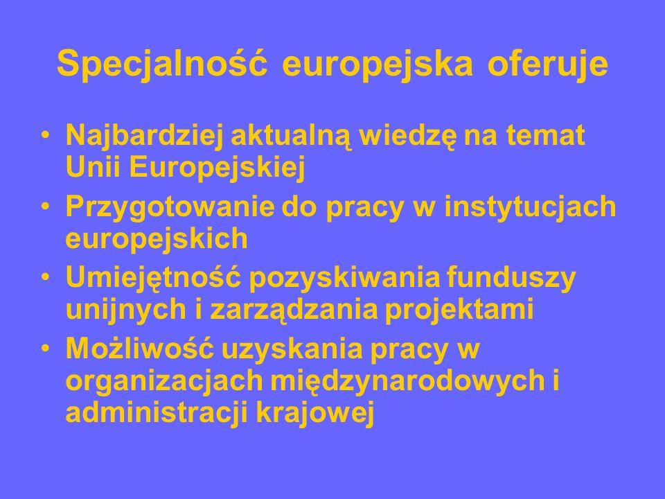 Specjalność europejska oferuje Możliwość udziału w seminariach/konwersatoriach na temat Unii Europejskiej odbywających się w ramach Ministerstwa Spraw Zagranicznych Pomoc w zakresie udziału w konferencjach dotyczących integracji europejskiej Pomoc w kwestii przygotowywania publikacji poświęconych Unii Europejskiej Informacje i pomoc w zakresie praktyk w krajowych i zagranicznych instytucjach zajmujących się sprawami europejskimi