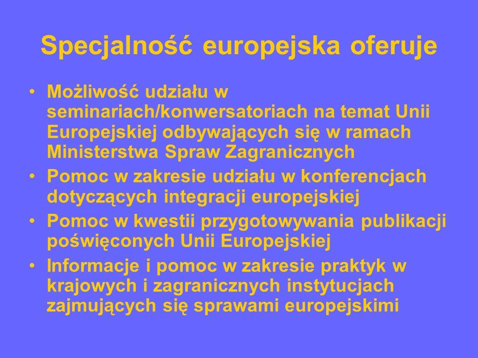 Program specjalności europejskiej (wybrane zagadnienia) Lektorat j.