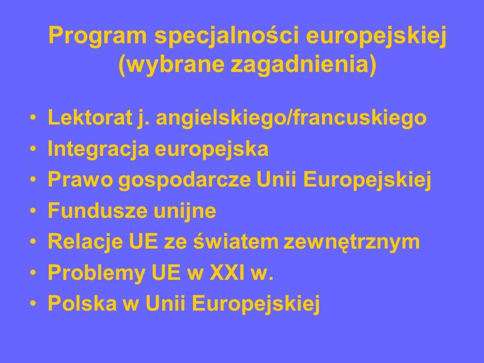 Program specjalności europejskiej (wybrane zagadnienia) Międzynarodowe rynki finansowe Międzynarodowe transakcje gospodarcze Międzynarodowa polityka społeczna Ekonomia rozwoju Prognozowanie i symulacje międzynarodowe Wielokulturowość w Unii Europejskiej Cywilizacja europejska