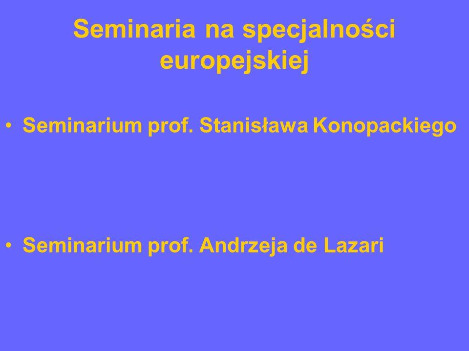 Seminaria na specjalności europejskiej Seminarium prof.