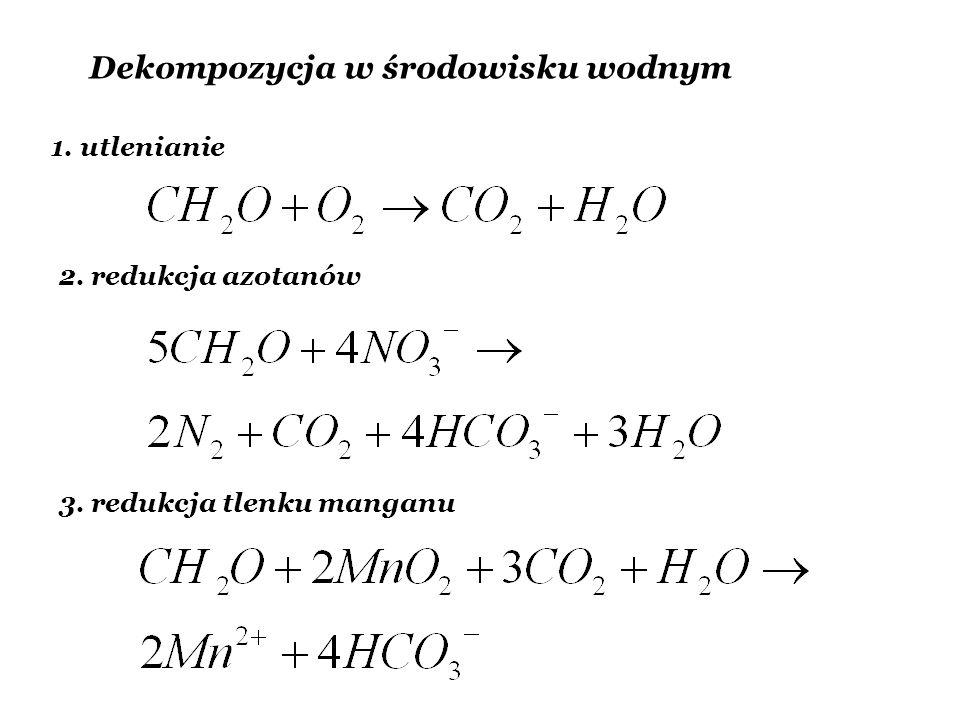 Dekompozycja w środowisku wodnym 1. utlenianie 2. redukcja azotanów 3. redukcja tlenku manganu