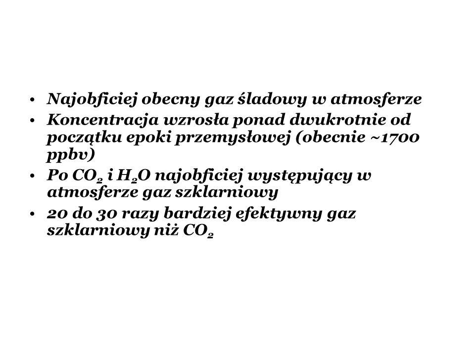 Najobficiej obecny gaz śladowy w atmosferze Koncentracja wzrosła ponad dwukrotnie od początku epoki przemysłowej (obecnie ~1700 ppbv) Po CO 2 i H 2 O
