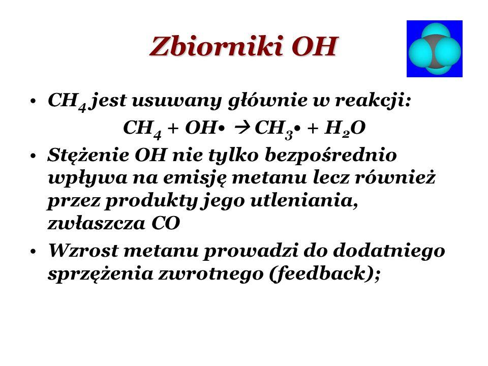 Zbiorniki OH CH 4 jest usuwany głównie w reakcji: CH 4 + OH CH 3 + H 2 O Stężenie OH nie tylko bezpośrednio wpływa na emisję metanu lecz również przez