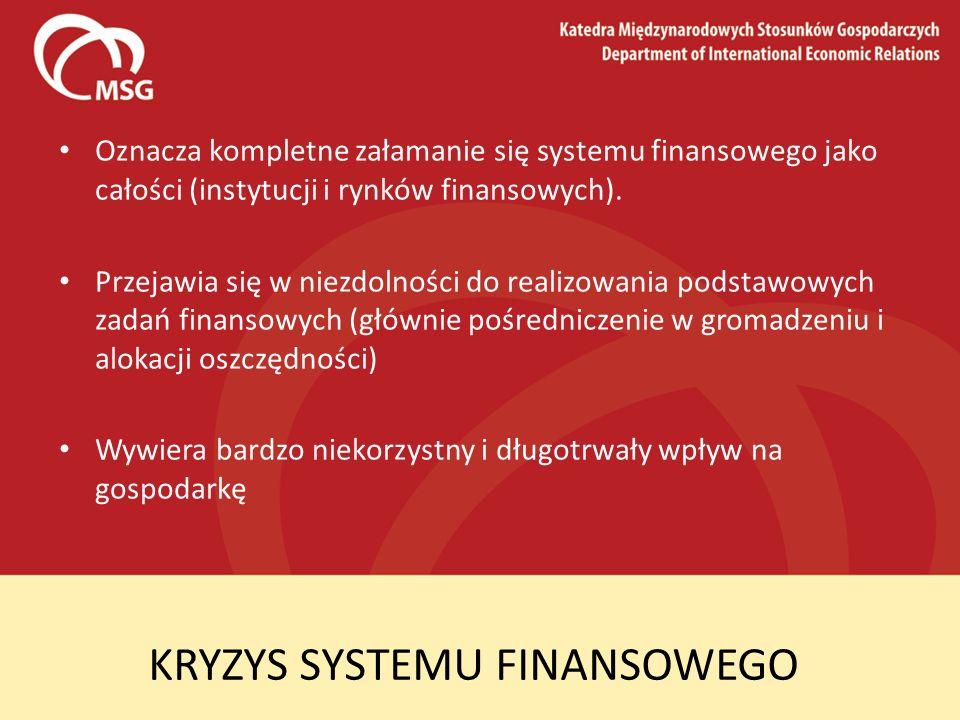 KRYZYS SYSTEMU FINANSOWEGO Oznacza kompletne załamanie się systemu finansowego jako całości (instytucji i rynków finansowych). Przejawia się w niezdol