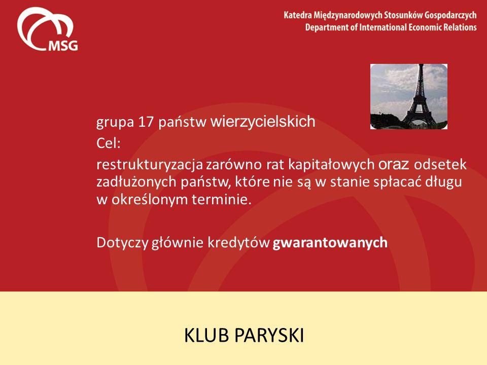KLUB PARYSKI grupa 17 państw wierzycielskich Cel: restrukturyzacja zarówno rat kapitałowych oraz odsetek zadłużonych państw, które nie są w stanie spł