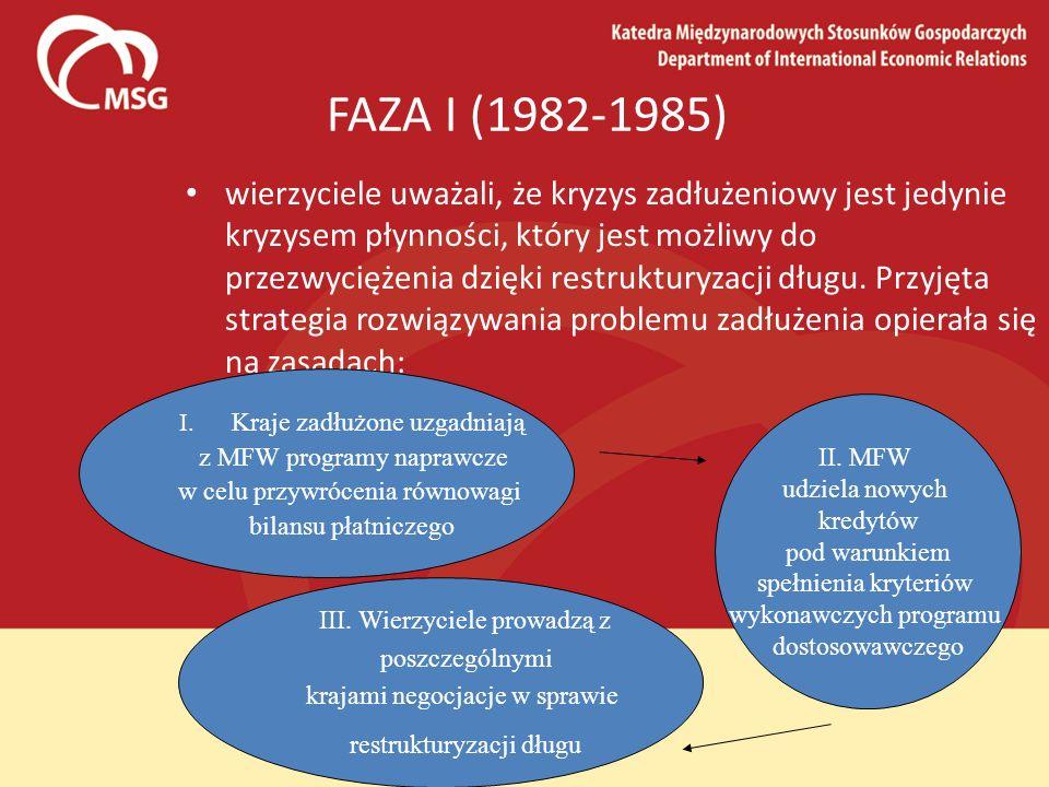 FAZA I (1982-1985) wierzyciele uważali, że kryzys zadłużeniowy jest jedynie kryzysem płynności, który jest możliwy do przezwyciężenia dzięki restruktu