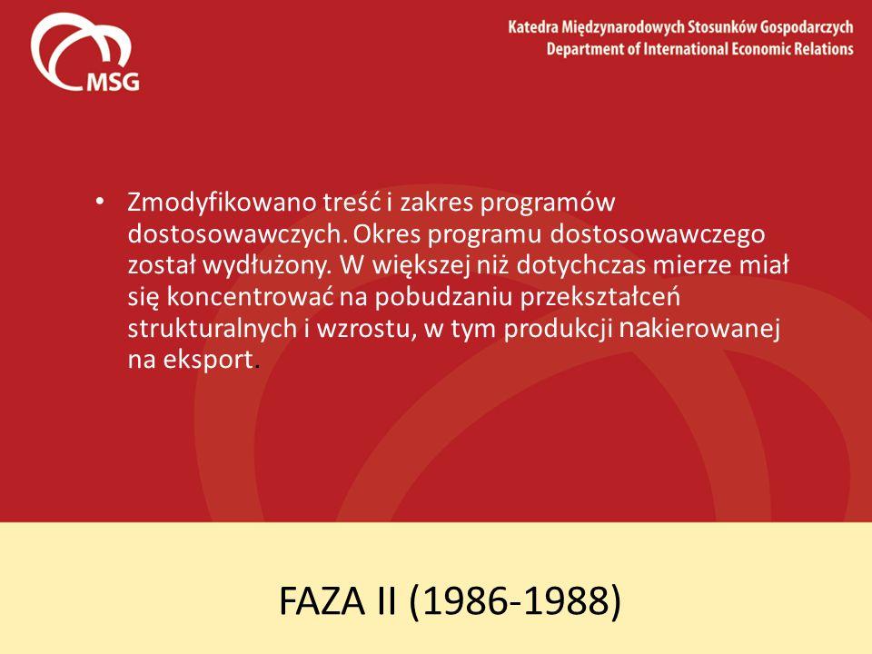FAZA II (1986-1988) Zmodyfikowano treść i zakres programów dostosowawczych. Okres programu dostosowawczego został wydłużony. W większej niż dotychczas