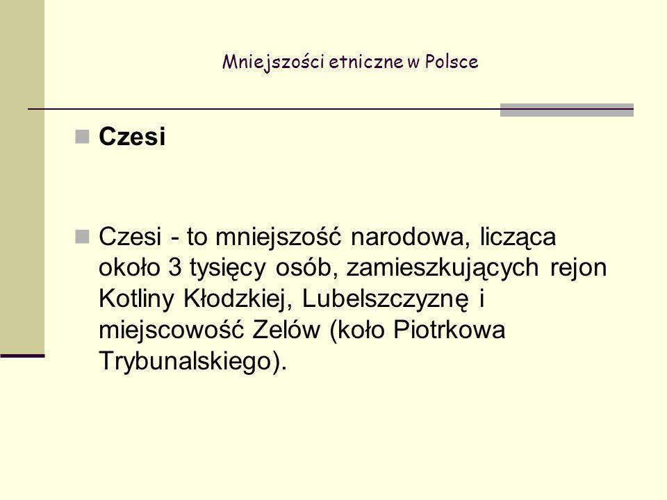 Mniejszości etniczne w Polsce Czesi Czesi - to mniejszość narodowa, licząca około 3 tysięcy osób, zamieszkujących rejon Kotliny Kłodzkiej, Lubelszczyznę i miejscowość Zelów (koło Piotrkowa Trybunalskiego).