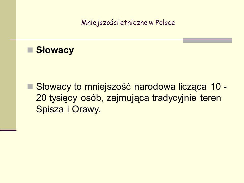 Mniejszości etniczne w Polsce Słowacy Słowacy to mniejszość narodowa licząca 10 - 20 tysięcy osób, zajmująca tradycyjnie teren Spisza i Orawy.