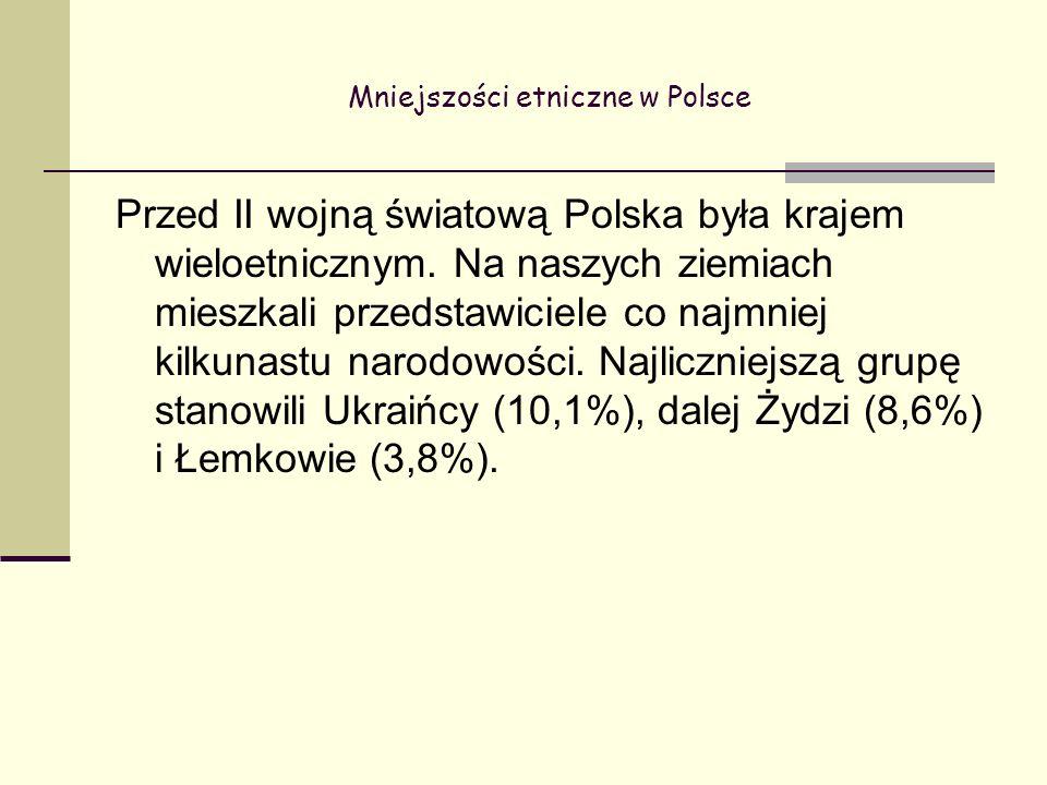 Mniejszości etniczne w Polsce Przed II wojną światową Polska była krajem wieloetnicznym.