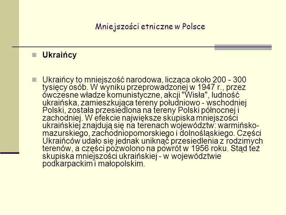 Mniejszości etniczne w Polsce Ukraińcy Ukraińcy to mniejszość narodowa, licząca około 200 - 300 tysięcy osób.