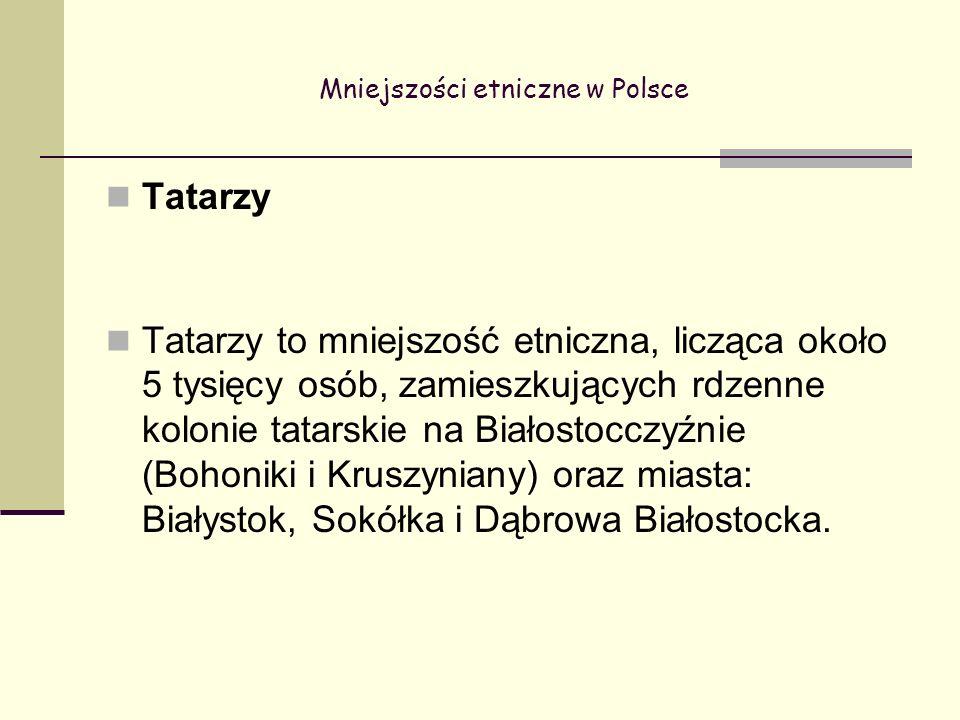 Mniejszości etniczne w Polsce Tatarzy Tatarzy to mniejszość etniczna, licząca około 5 tysięcy osób, zamieszkujących rdzenne kolonie tatarskie na Białostocczyźnie (Bohoniki i Kruszyniany) oraz miasta: Białystok, Sokółka i Dąbrowa Białostocka.