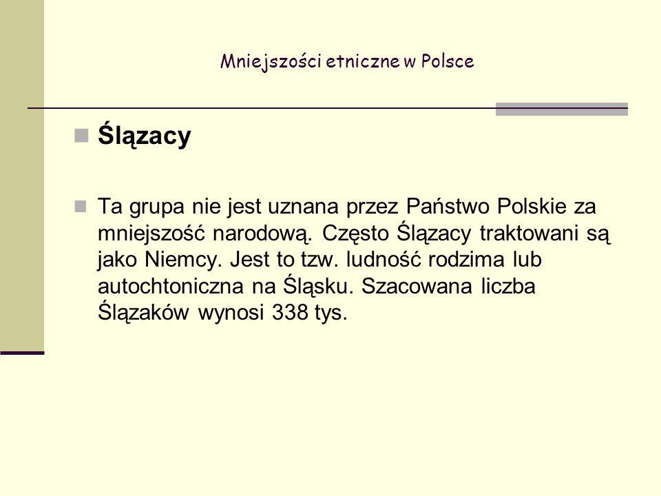 Mniejszości etniczne w Polsce Ślązacy Ta grupa nie jest uznana przez Państwo Polskie za mniejszość narodową.