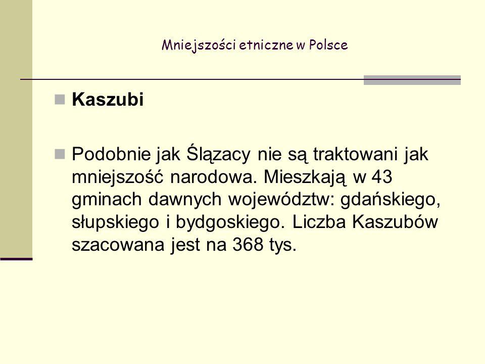 Mniejszości etniczne w Polsce Kaszubi Podobnie jak Ślązacy nie są traktowani jak mniejszość narodowa.