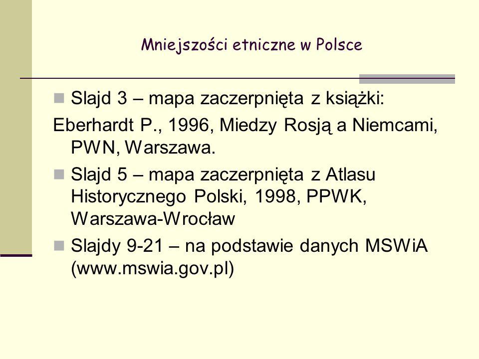 Mniejszości etniczne w Polsce Slajd 3 – mapa zaczerpnięta z książki: Eberhardt P., 1996, Miedzy Rosją a Niemcami, PWN, Warszawa.