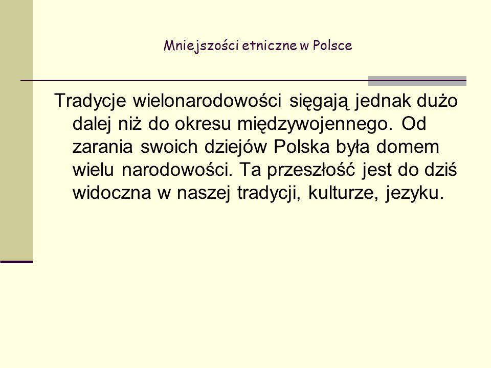 Mniejszości etniczne w Polsce Tradycje wielonarodowości sięgają jednak dużo dalej niż do okresu międzywojennego.