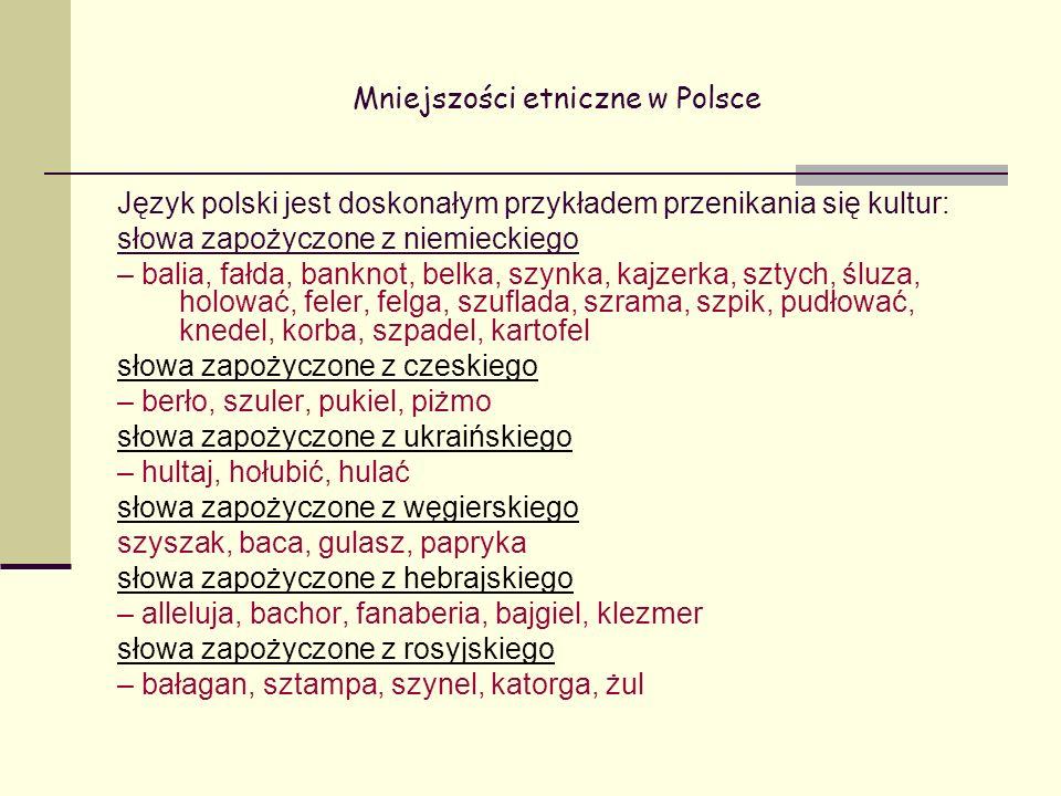 Mniejszości etniczne w Polsce Język polski jest doskonałym przykładem przenikania się kultur: słowa zapożyczone z niemieckiego – balia, fałda, banknot, belka, szynka, kajzerka, sztych, śluza, holować, feler, felga, szuflada, szrama, szpik, pudłować, knedel, korba, szpadel, kartofel słowa zapożyczone z czeskiego – berło, szuler, pukiel, piżmo słowa zapożyczone z ukraińskiego – hultaj, hołubić, hulać słowa zapożyczone z węgierskiego szyszak, baca, gulasz, papryka słowa zapożyczone z hebrajskiego – alleluja, bachor, fanaberia, bajgiel, klezmer słowa zapożyczone z rosyjskiego – bałagan, sztampa, szynel, katorga, żul