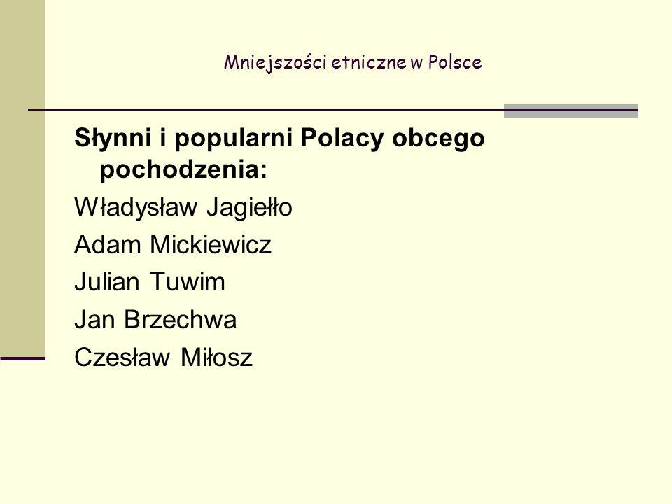 Mniejszości etniczne w Polsce Słynni i popularni Polacy obcego pochodzenia: Władysław Jagiełło Adam Mickiewicz Julian Tuwim Jan Brzechwa Czesław Miłosz