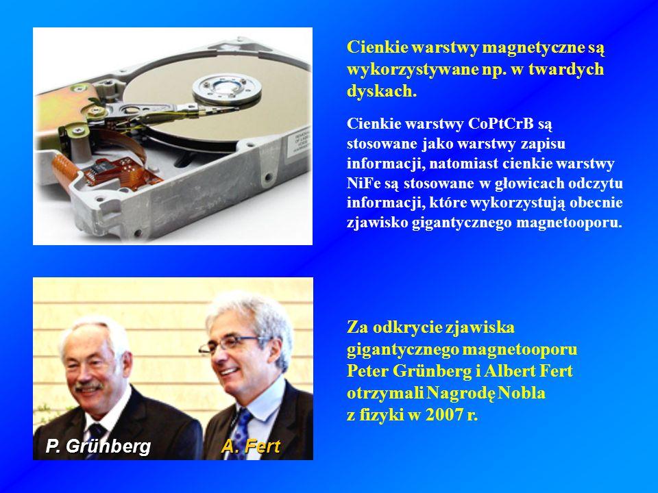 Za odkrycie zjawiska gigantycznego magnetooporu Peter Grünberg i Albert Fert otrzymali Nagrodę Nobla z fizyki w 2007 r. Cienkie warstwy CoPtCrB są sto