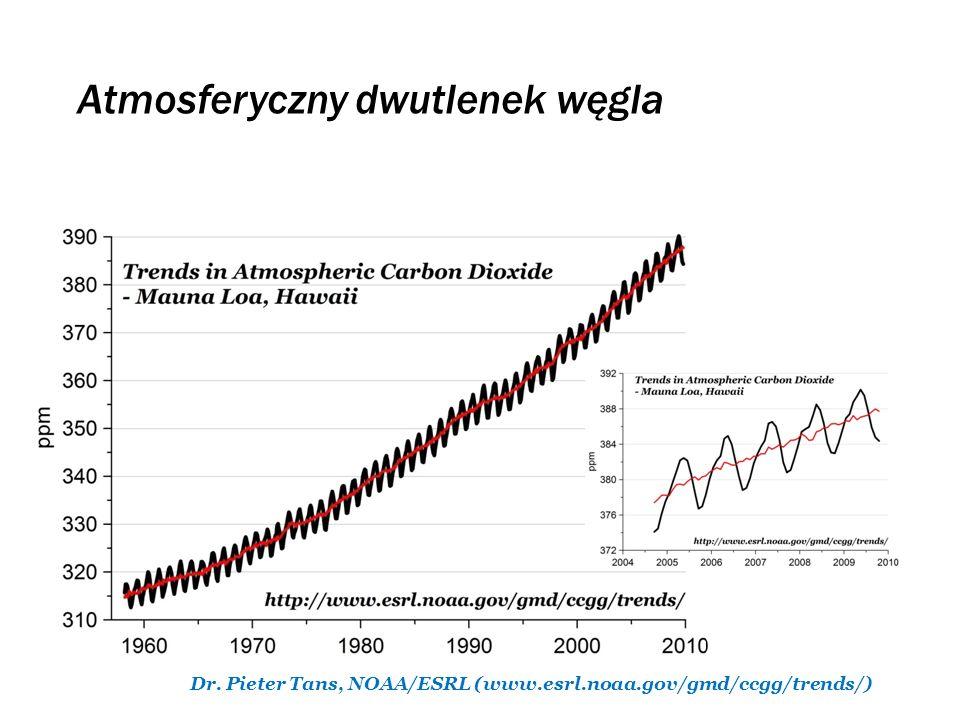 Dr. Pieter Tans, NOAA/ESRL (www.esrl.noaa.gov/gmd/ccgg/trends/) Atmosferyczny dwutlenek węgla