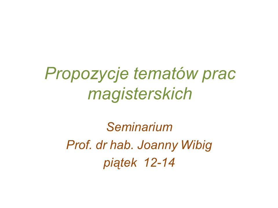 Propozycje tematów prac magisterskich Seminarium Prof. dr hab. Joanny Wibig piątek 12-14