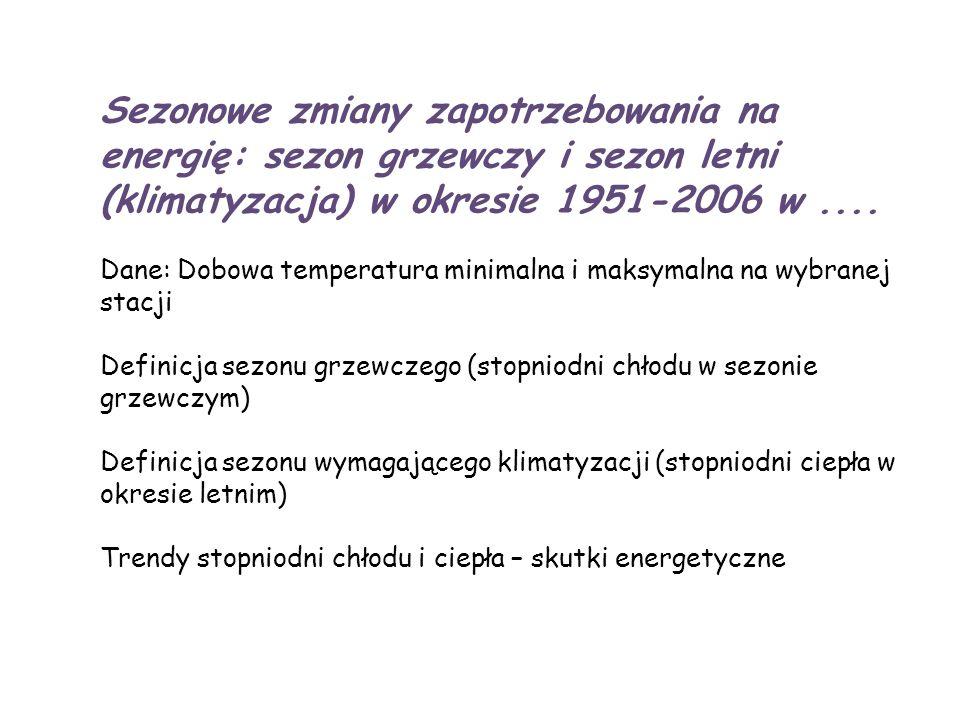 Sezonowe zmiany zapotrzebowania na energię: sezon grzewczy i sezon letni (klimatyzacja) w okresie 1951-2006 w.... Dane: Dobowa temperatura minimalna i