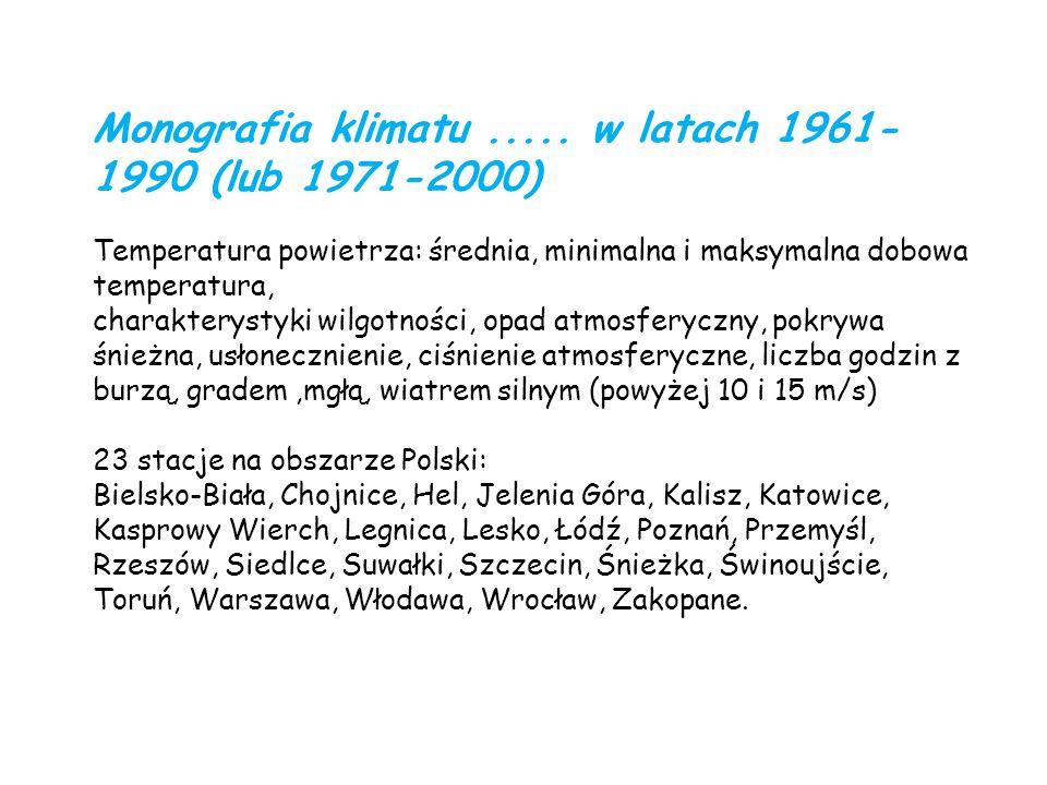 Monografia klimatu..... w latach 1961- 1990 (lub 1971-2000) Temperatura powietrza: średnia, minimalna i maksymalna dobowa temperatura, charakterystyki