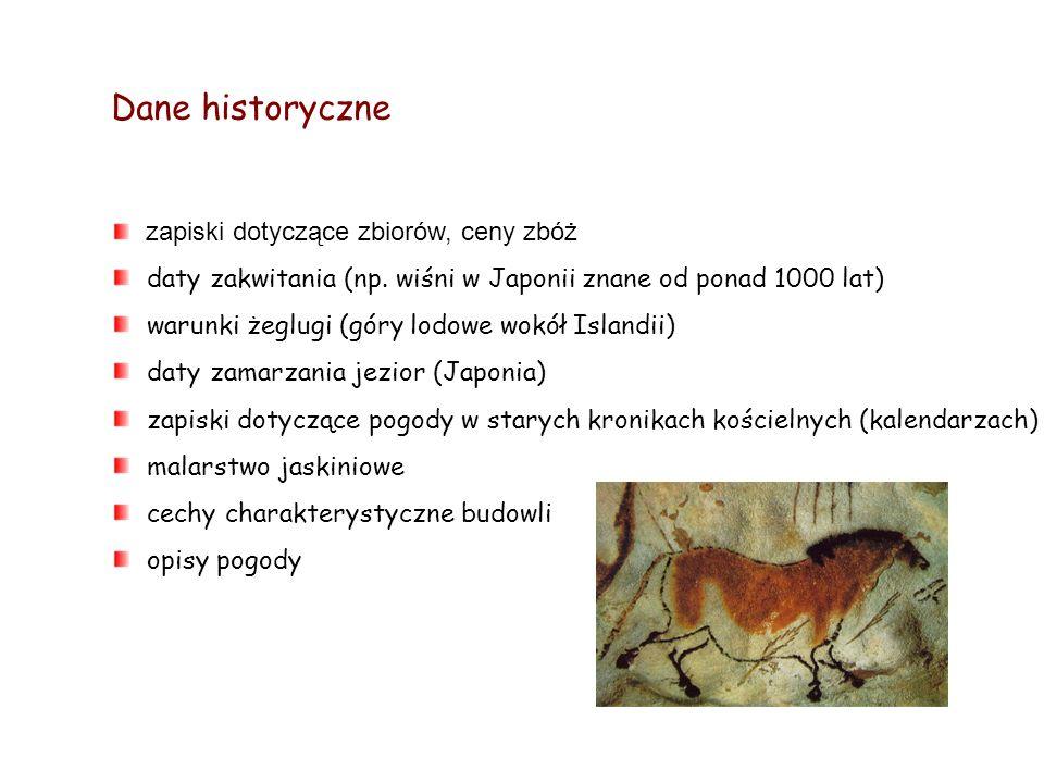 Dane historyczne zapiski dotyczące zbiorów, ceny zbóż daty zakwitania (np. wiśni w Japonii znane od ponad 1000 lat) warunki żeglugi (góry lodowe wokół