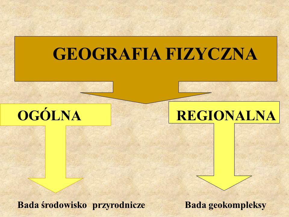 GEOGRAFIA FIZYCZNA OGÓLNA REGIONALNA Bada środowisko przyrodnicze Bada geokompleksy